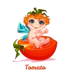 Sweet fairy with red tomato vector