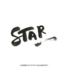 Star word painted with brush in modern calligraphy vector