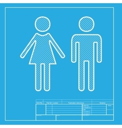 Male and female sign white section of icon on vector