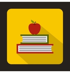 Books with apple icon flat style vector