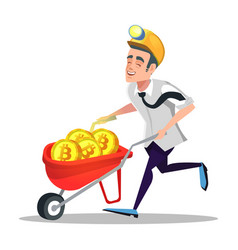 Bitcoin miner with pushcart full of golden coins vector