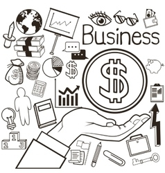 Business hand and icon set Business vector image