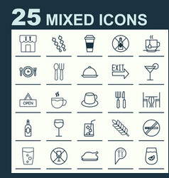 Cafe icons set collection of board lemon juice vector