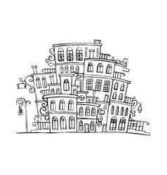 Cartoon grayscale town vector
