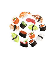 cartoon sushi types circle concept vector image vector image