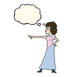 Cartoon woman pointing finger with thought bubble vector