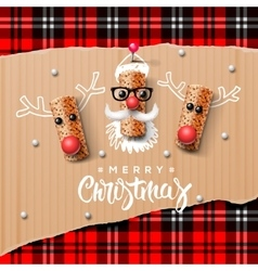 Christmas characters santa claus and reindeer vector