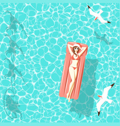 Christmas woman on air mattress in the sea vector