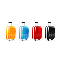 Collection of four color luggage travel case vector