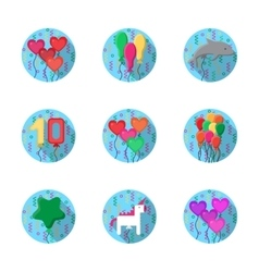 Colorful balloons flat icons collection vector image vector image