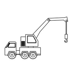 Contour car crane icon vector