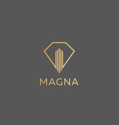 diamond real estate logo design luxury home vector image vector image