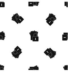 folders with padlock pattern seamless black vector image vector image
