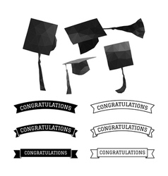 Graduation cap polygon and congratulations element vector image