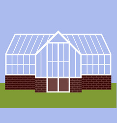 Greenhouse with glass walls vector