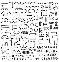 Huge set of hand drawn elements vector image