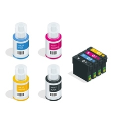 Isometric CMYK set of cartridges for ink jet vector image vector image