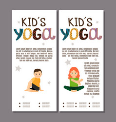 kids in yoga poses flyers design vector image