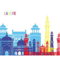lahore skyline pop vector image vector image