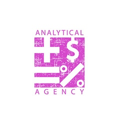 Logo analytical agency mathematical signs economy vector image