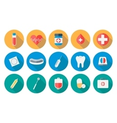 Medicine icons set in flat design with long shadow vector image