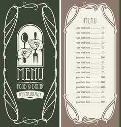 menu restaurant with price and cutlery in hands vector image vector image