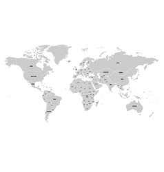 political map of world with antarctica grey land vector image vector image
