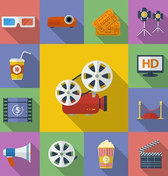 Set of Cinema Movie icons Flat style vector image vector image