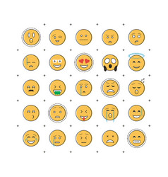 set of emoticon with line vector image vector image