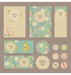 Set of flyer sticker tag templates for kids cafe vector image
