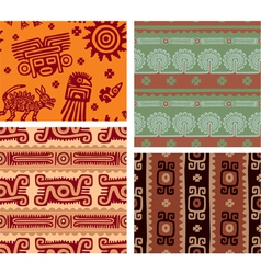 set of mexican seamless tiles vector image vector image