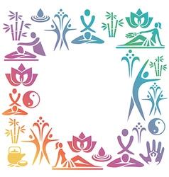 Spa massage decorative frame vector