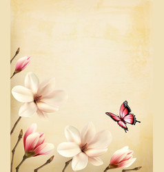 Spring background with beautiful magnolia vector
