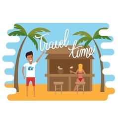 Summer vacation Man relaxing at the beach cafe vector image vector image