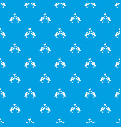 two birds with hearts pattern seamless blue vector image