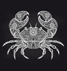 Vintage ornate crab on blackboard vector