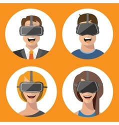 Virtual reality glasses man and woman flat icons vector image vector image