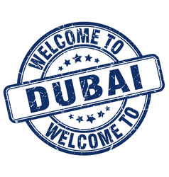 Welcome to dubai blue round vintage stamp vector