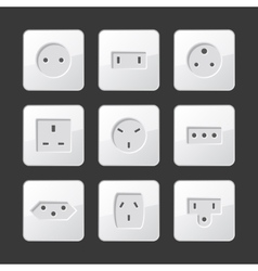 White electric outlet sockets set vector