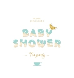 Baby shower boy invitation card template vector image
