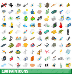 100 pain icons set isometric 3d style vector image