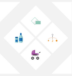 Flat baby set of cream with lotion napkin mobile vector