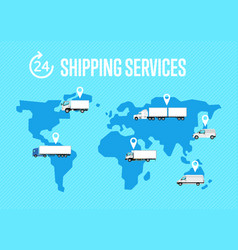 Shipping services poster with global map vector