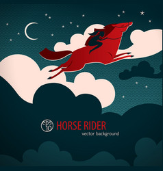 Wild red horse poster vector