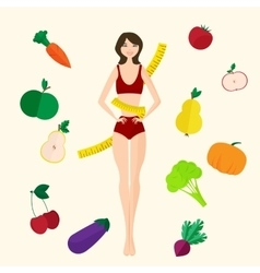 Slim girl fresh fruits and vegetables proper vector