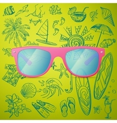 Pink ladies sunglasses and hand draw tourist icon vector