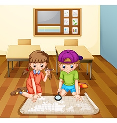 Children reading map in classroom vector