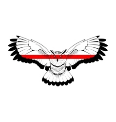 Owl with red stripe vector