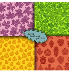 Set of seamless patterns with different tree leave vector