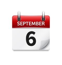 September 6 flat daily calendar icon vector